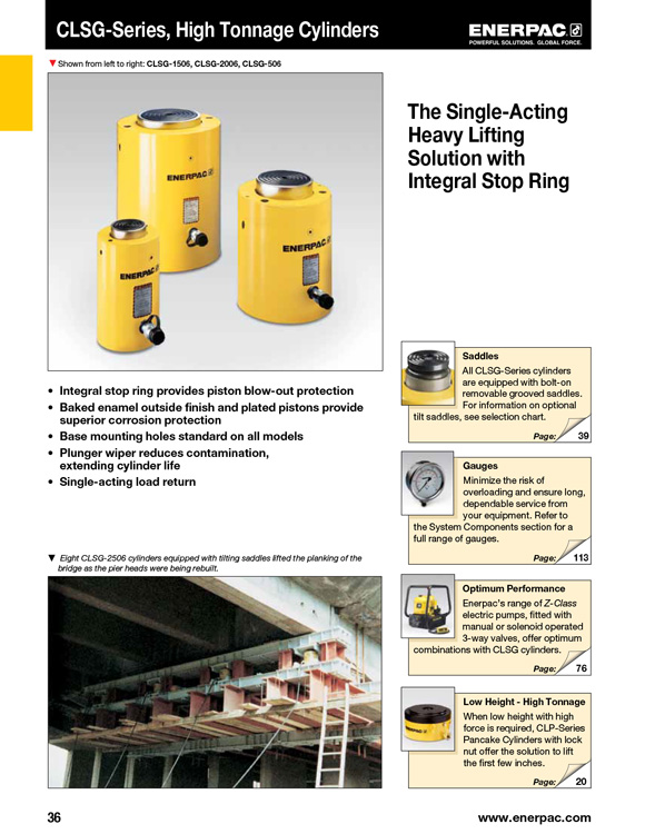Enerpac High Tonnage Cylinders Catalog