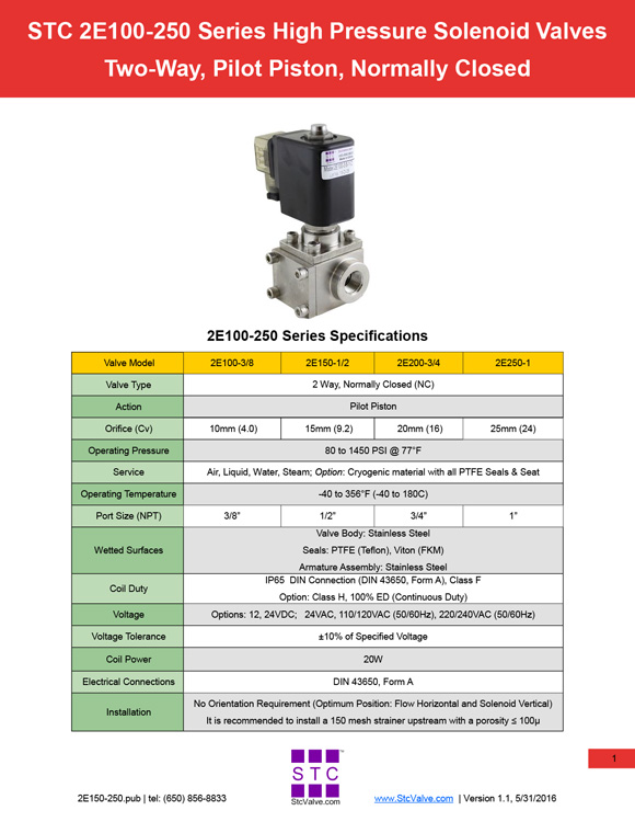 STC Valve 2E100-250 Series Catalog