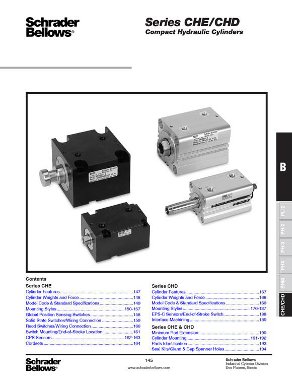 Schrader Bellows-CHE/CHD Compact Hydraulic Cylinders Catalog