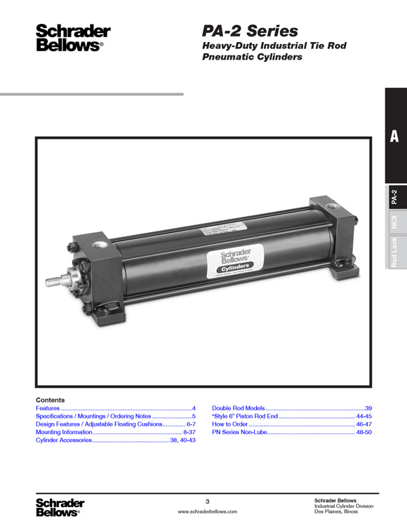 Schrader Bellows-PA-2 Series Heavy Duty Tie Rod Cylinders Catalog