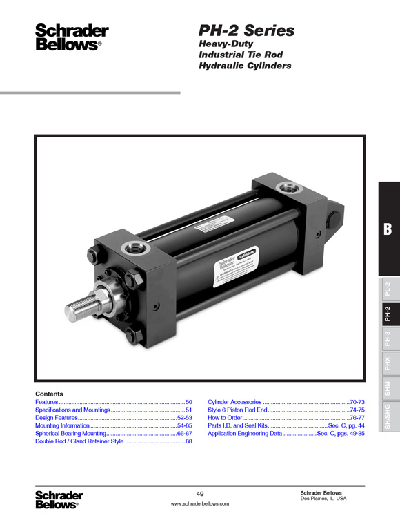 Schrader Bellows-PH2 Series Cylinders Catalog