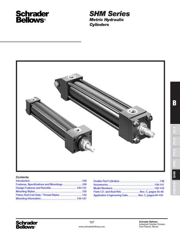 Schrader Bellows-SHM Series Metric Hydraulic Cylinders Catalog