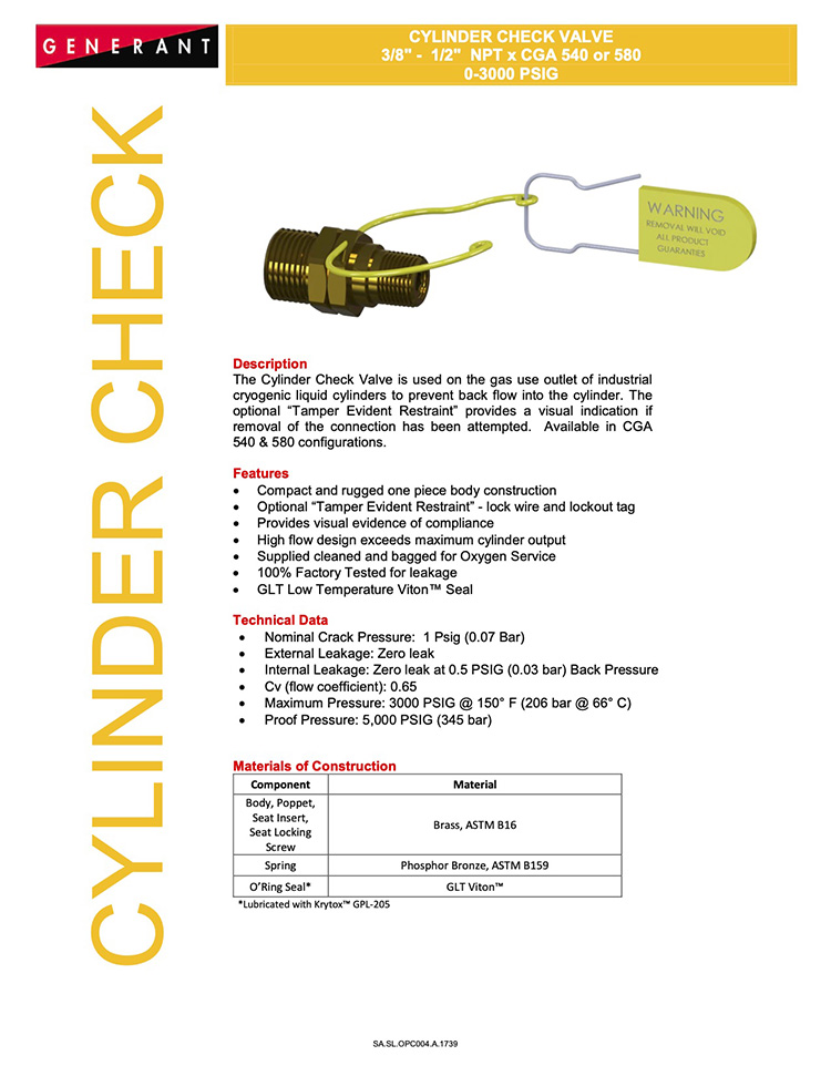 Generant-Cylinder Check Valve Catalog