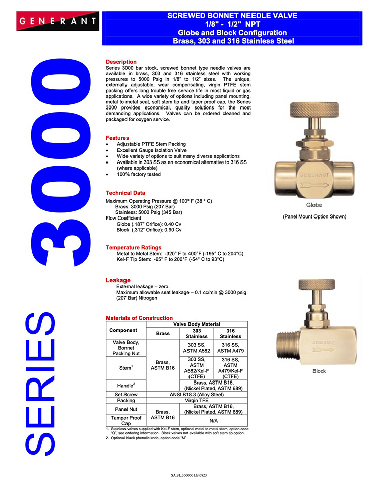 Generant-Series 3000 Catalog