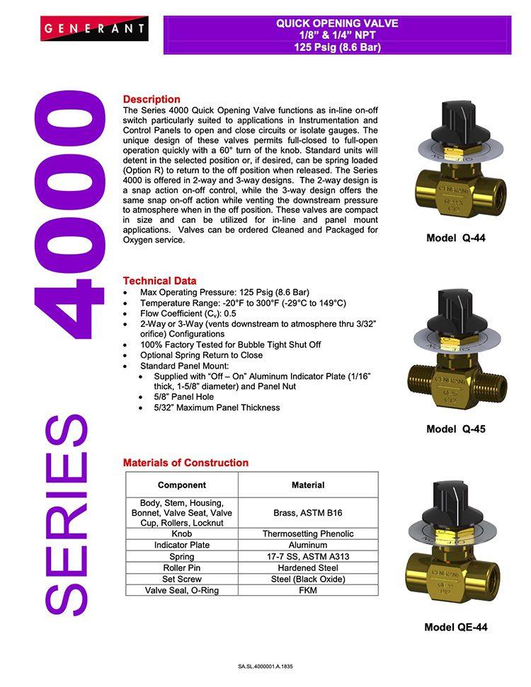 Generant-Series 4000 Catalog