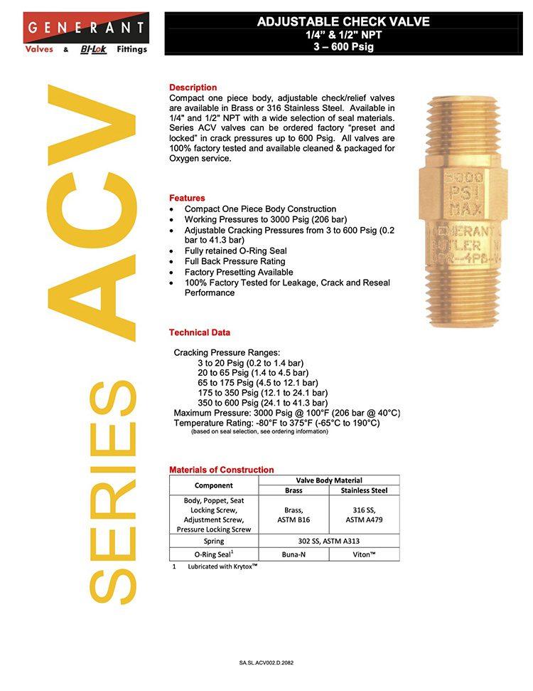 Generant-Series ACV Catalog