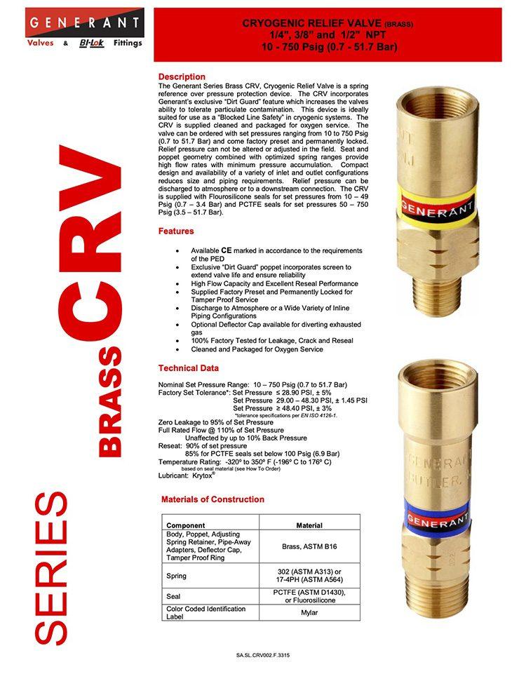 Generant-Series CRV Brass Catalog