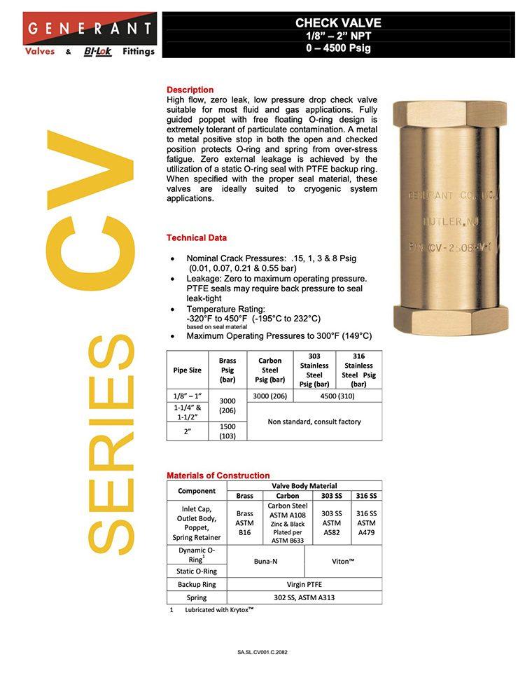 Generant-Series CV Catalog