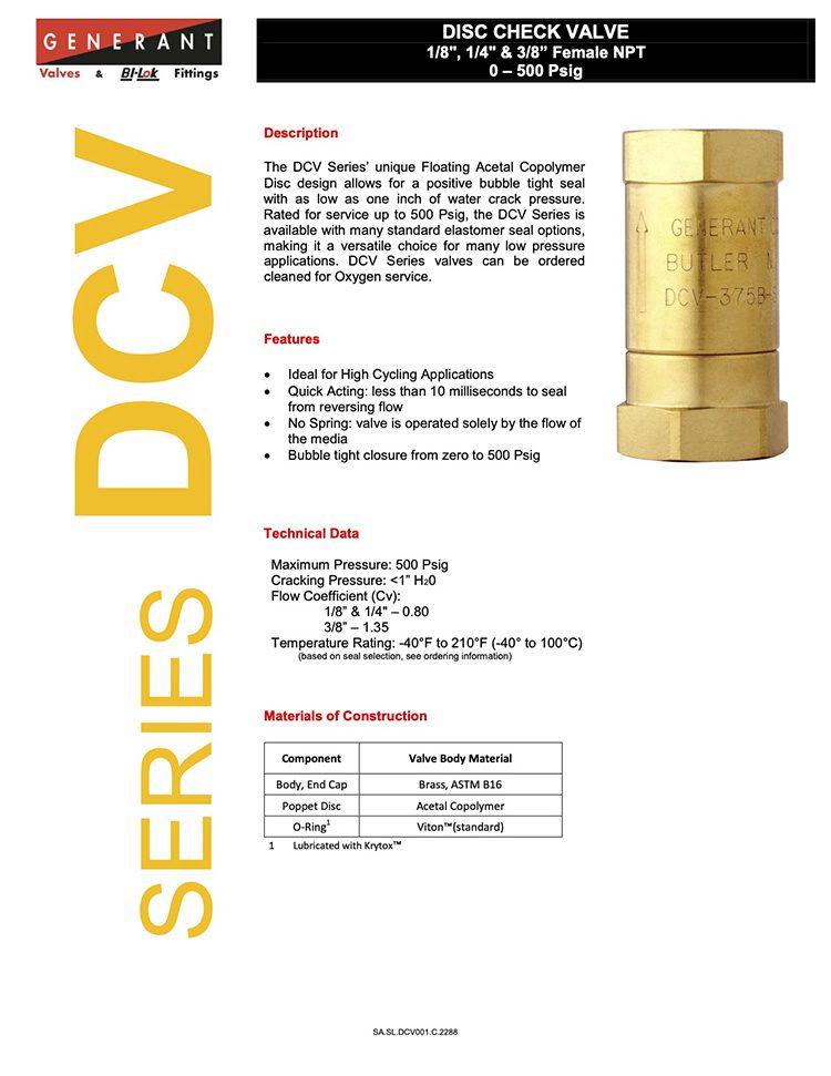 Generant-Series DCV Catalog