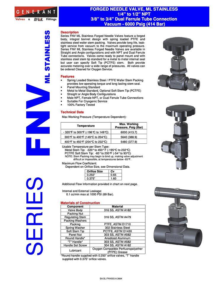 Generant-Series FNVML Stainless Steel Catalog