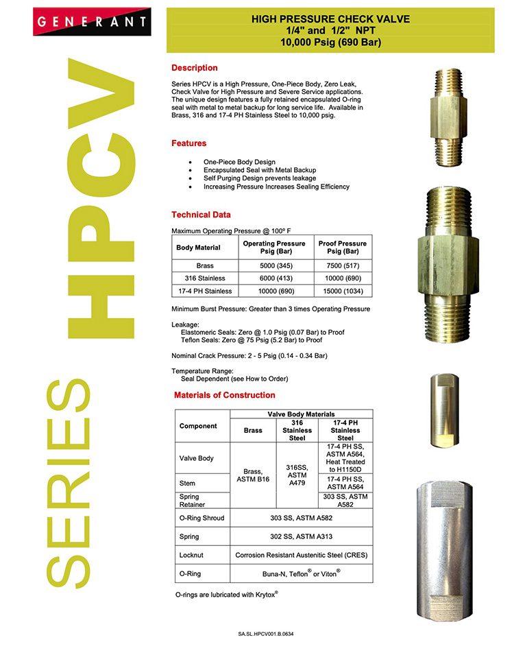 Generant-Series HPCV Catalog