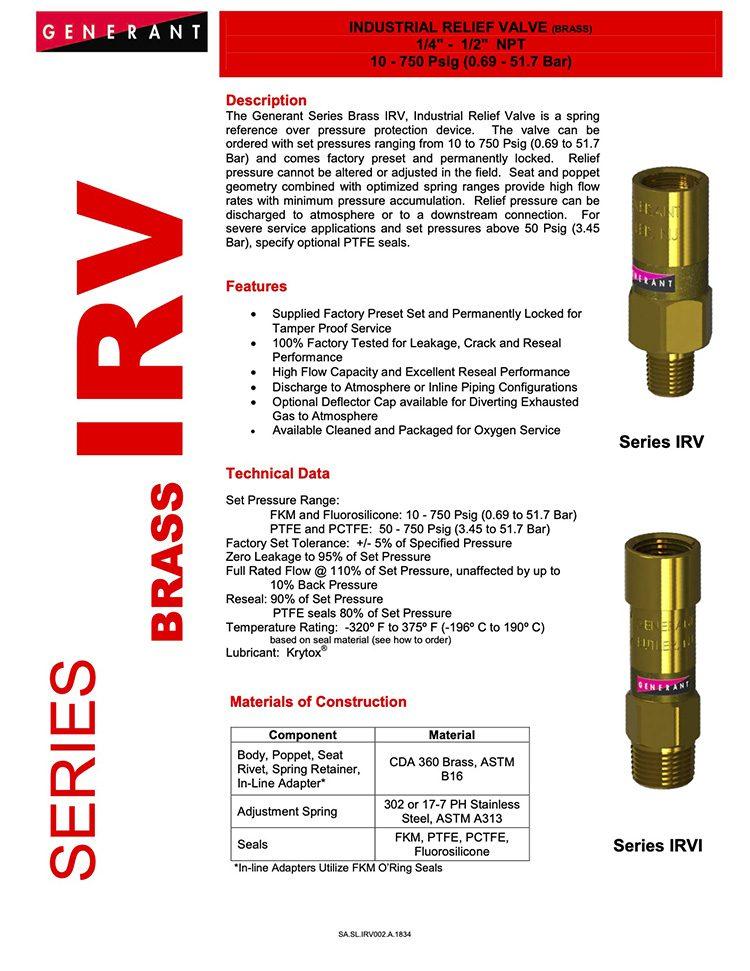 Generant-Series IRV Brass Catalog