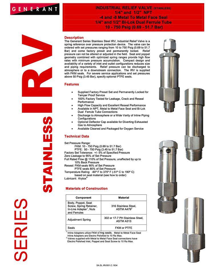 Generant-Series IRV Stainless Catalog