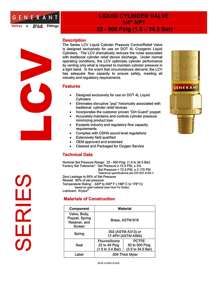 Generant-Series LCV Catalog