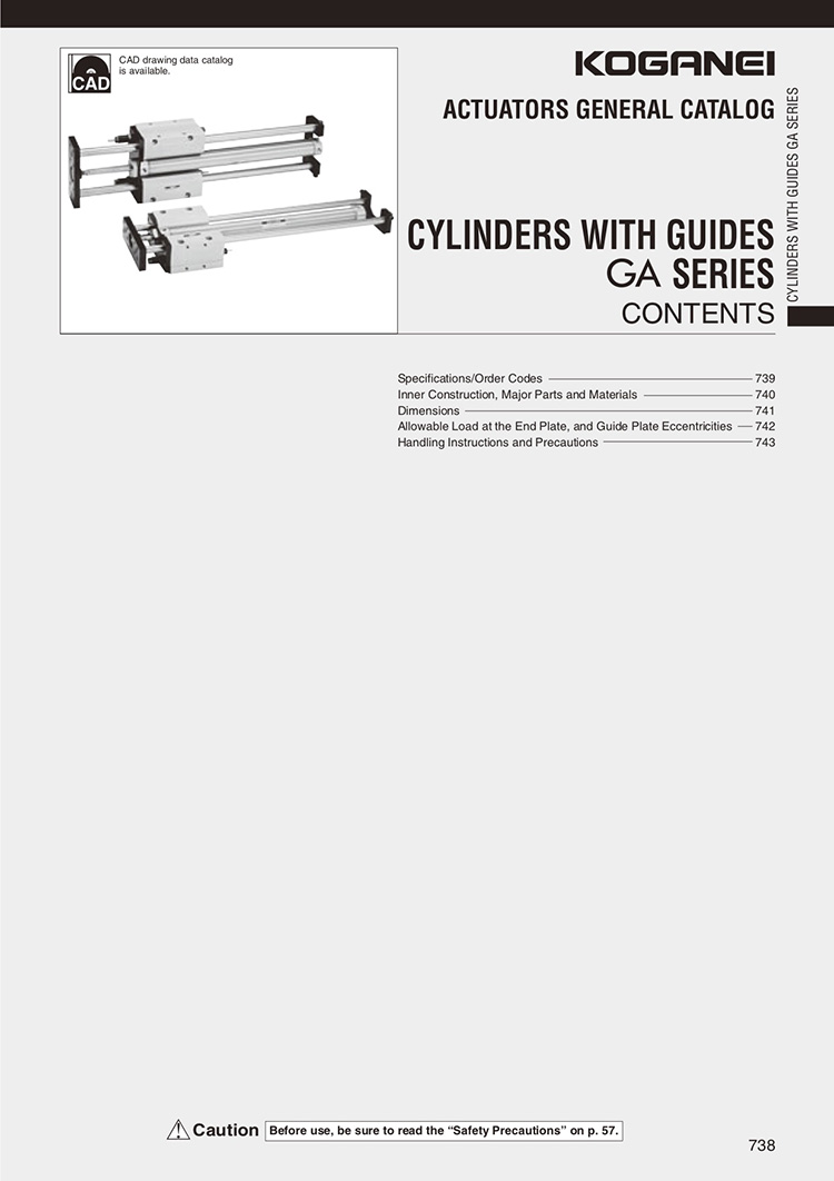 Koganei-Cylinders With Guides GA Series Catalog