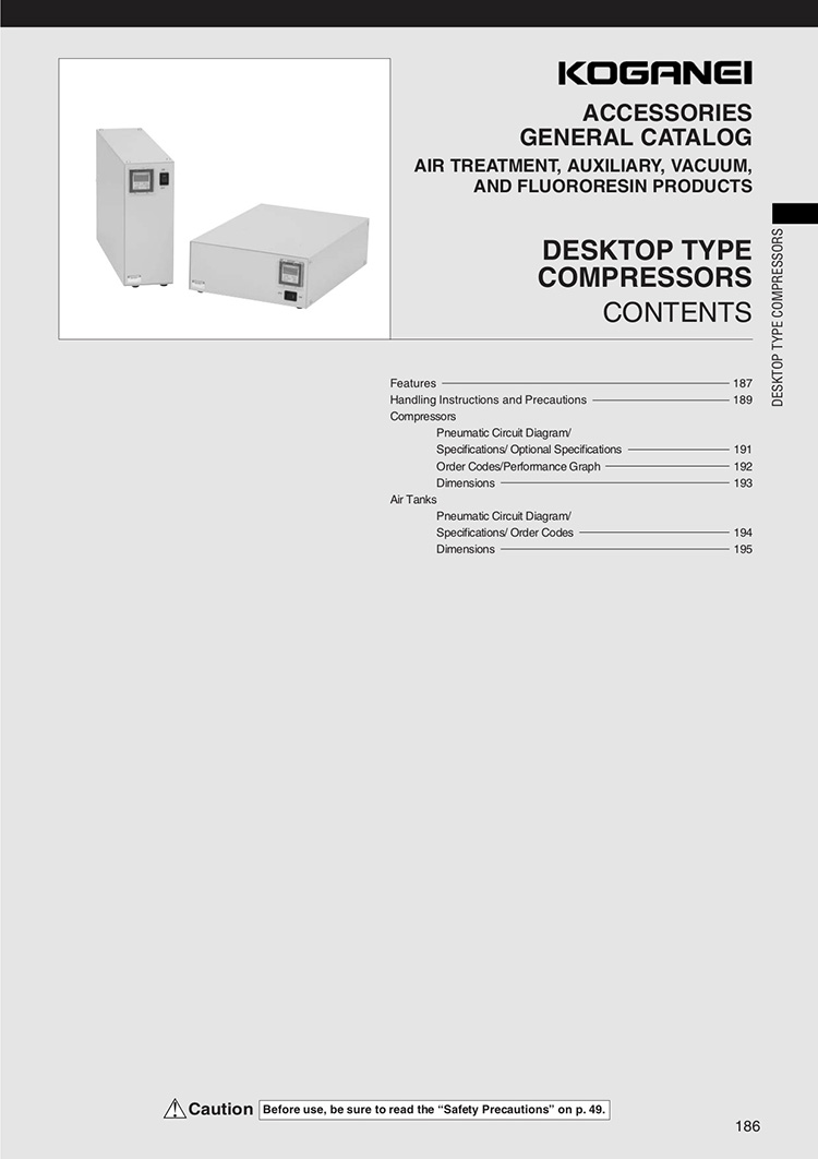 Koganei Desktop Type Compressors Catalog