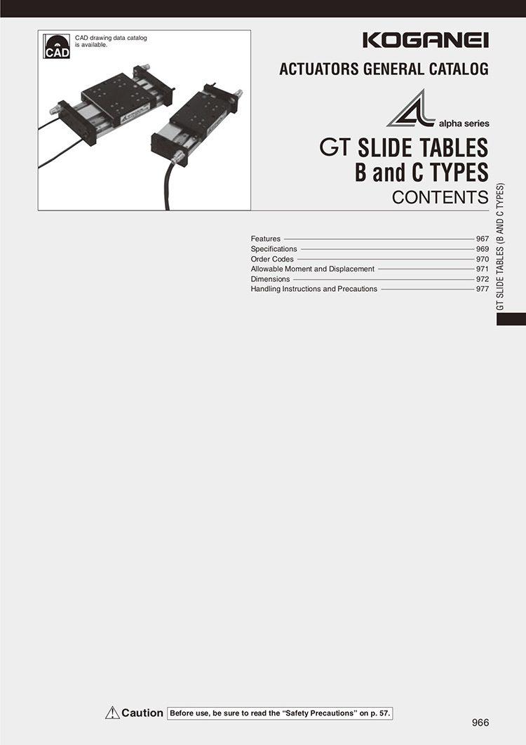 Koganei-GT Slide Tables B, C Types Catalog