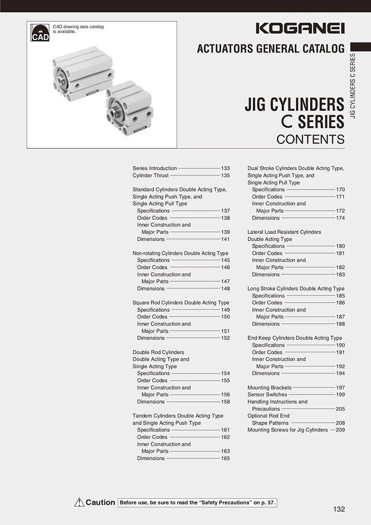 Koganei-Jig Cylinders C Series Catalog