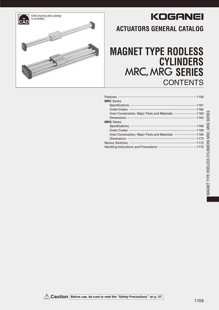 Koganei-Magnet Type Rodless Cylinders Mrc, Mrg Catalog