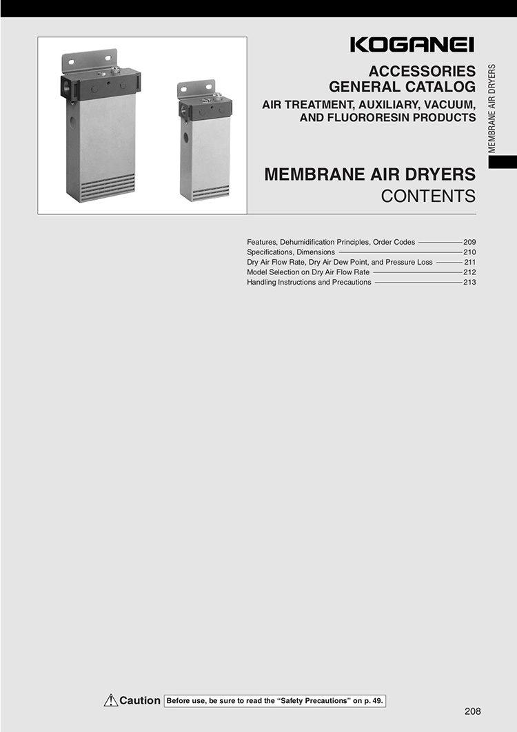 Koganei Membrane Air Dryers Catalog