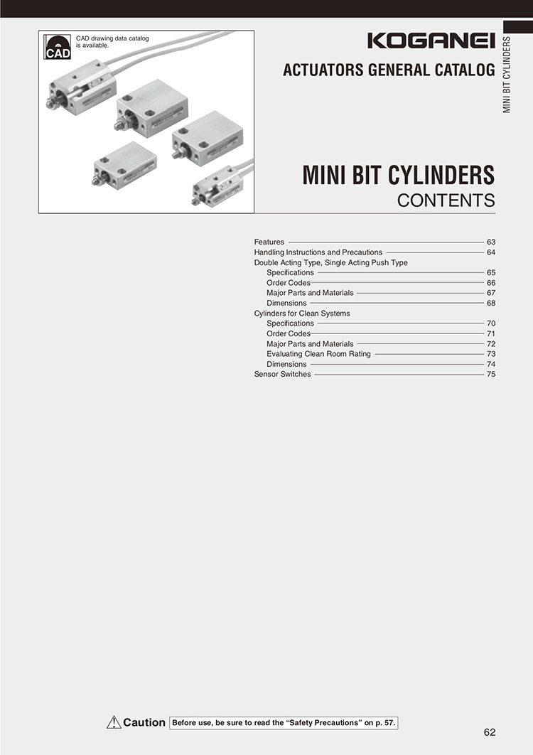 Koganei-Mini Bit Cylinders Catalog