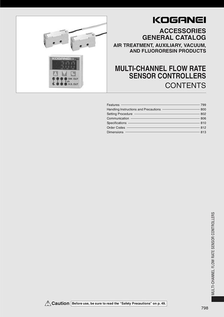 Koganei Multi-Channel Flow Rate Sensor Controllers Catalog