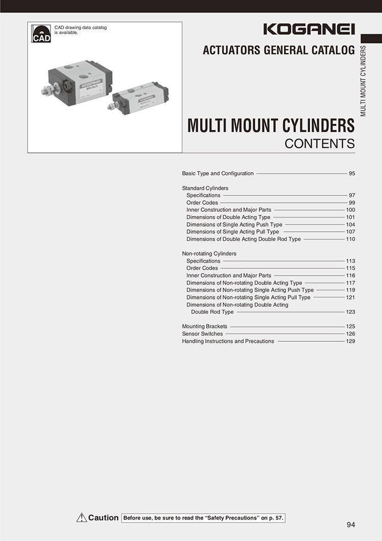Koganei-Multi Mount Cylinders Catalog