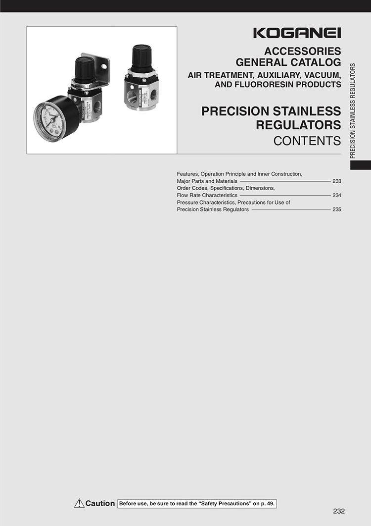 Koganei Precision Stainless Regulators Catalog