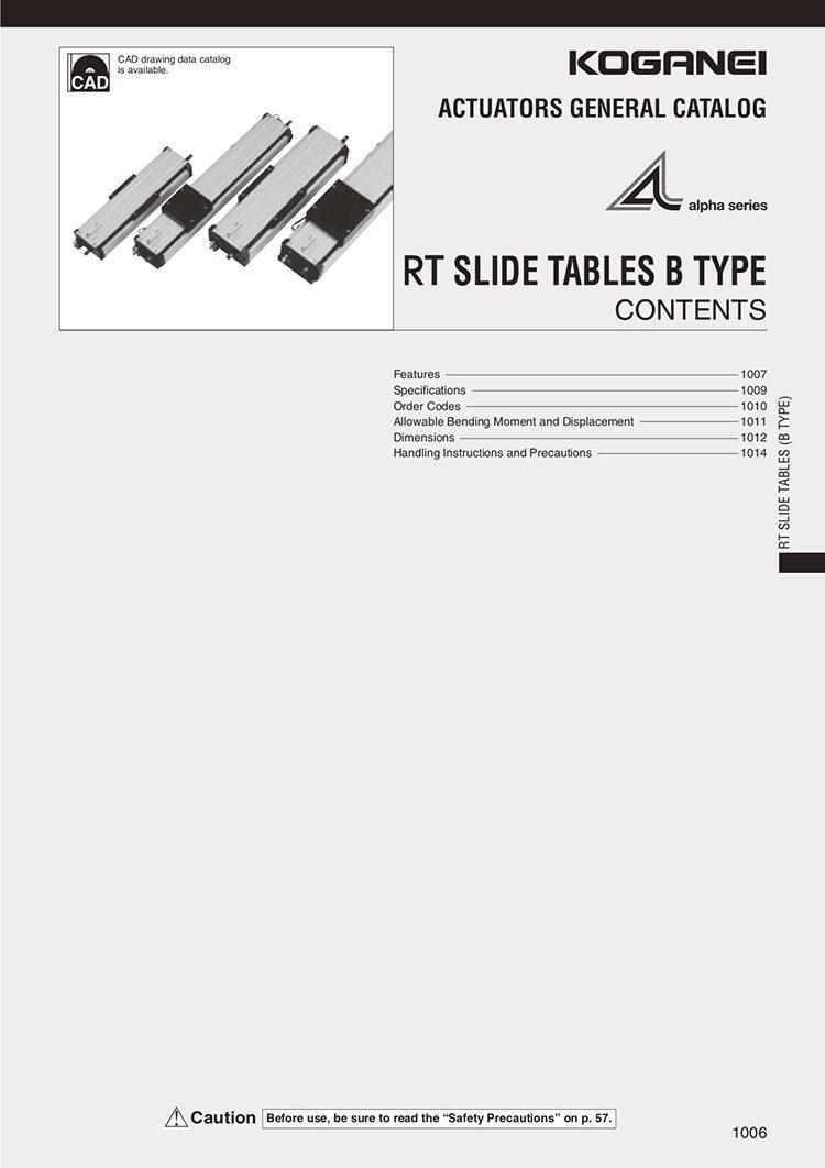 Koganei-RT Slide Tables B Type Catalog