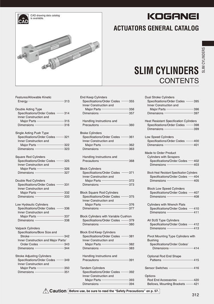 Koganei-Slim Cylinders Catalog