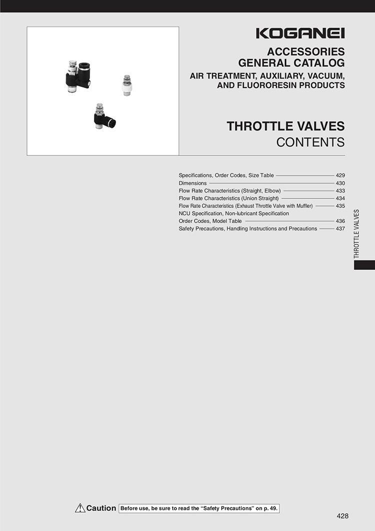 Koganei Throttle Valves Catalog