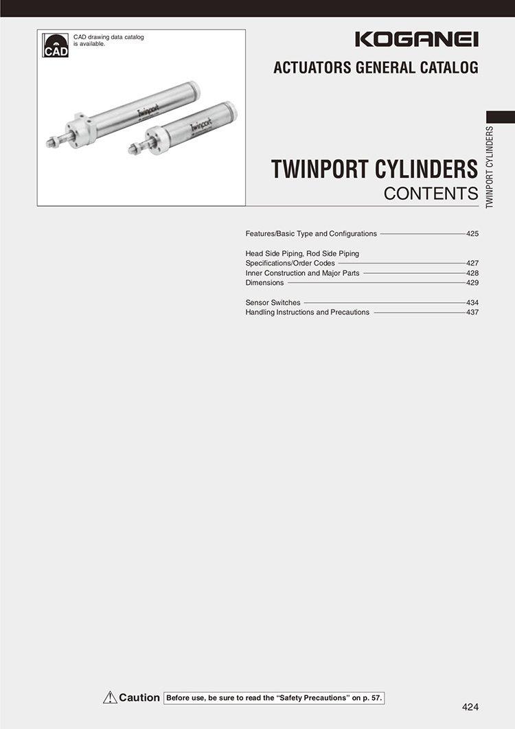Koganei-Twin Port Cylinders Catalog