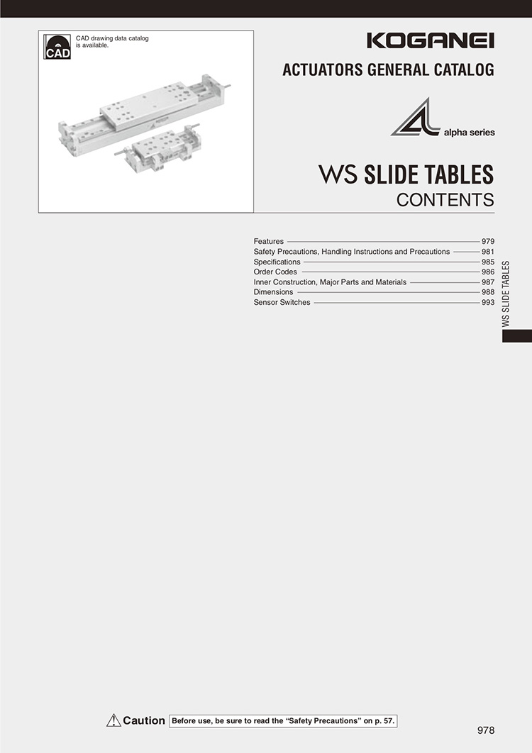 Koganei-WS Slide Tables Catalog