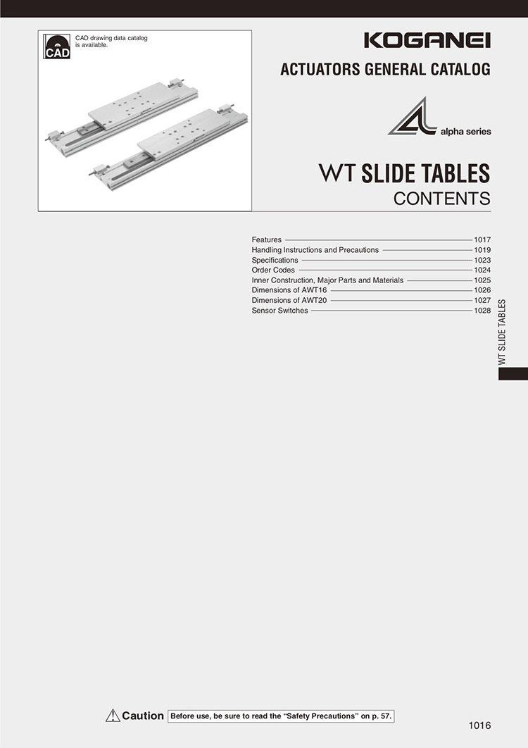 Koganei-WT Slide Tables Catalog