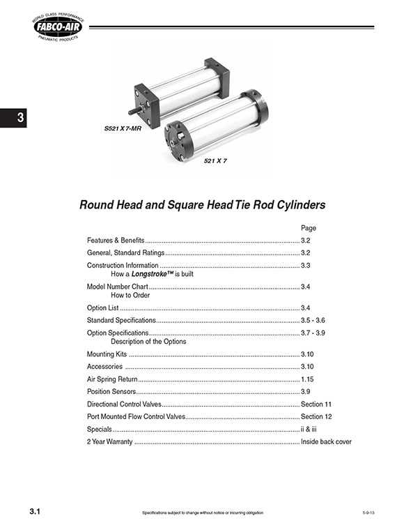 Fabco-Long Stroke Series Cylinders Catalog